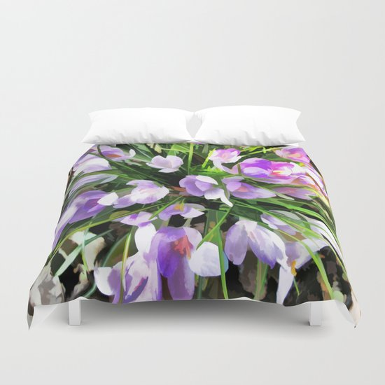 Soft Painterly Crocuses Duvet Cover