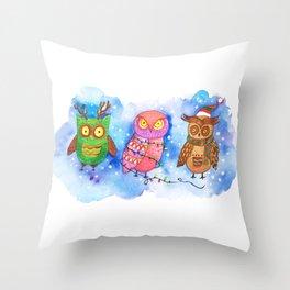 Christmas Owlies v2.0 Throw Pillow