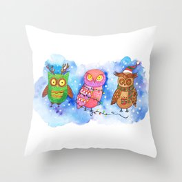 Christmas Owlies v2.0 Throw Pillow