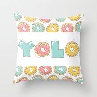 doughnut Throw Pillows featuring Doughnut Yolo by MOJA