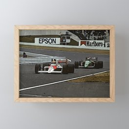 Ayrton Senna Formula 1 Battle Framed Mini Art Print