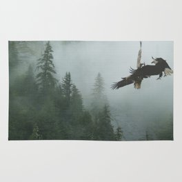 Battle for the Cedars - Bald Eagles Wildlife Scene Rug