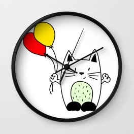 Cat with balloons Wall Clock