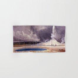 The Castle Geyser, Yellowstone Park landscape painting by Thomas Moran Hand & Bath Towel