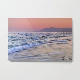 Sunrays Through The Waves. Purple Sunset Marbella. Metal Print