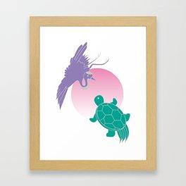 Crane and turtle Framed Art Print