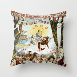 Vintage poster - Mobile Mardi Gras Throw Pillow
