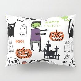 Cute Frankenstein and friends white #halloween Pillow Sham