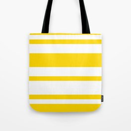 Mixed Horizontal Stripes - White and Gold Yellow Tote Bag