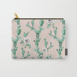 Green Coral Pink Cactus Rose Pattern Carry-All Pouch
