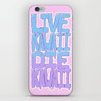 kawaii iPhone & iPod Skins featuring Live Kawaii Die Kawaii by Lixxie Berry Illustration