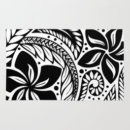 Circular Polynesian Black Floral Tattoo Rug