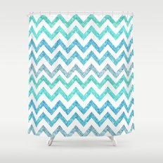 Summer Waves | Faux blue turquoise glitter chevron pattenr Shower Curtain