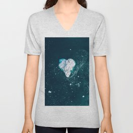 Heart of Winter - Aerial view of Icebergs in the arctic Ocean Unisex V-Neck