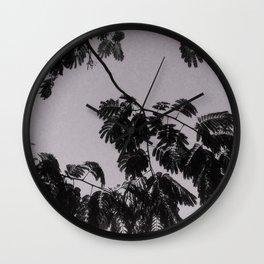 Mimosa Tree Print, Grey background  Wall Clock