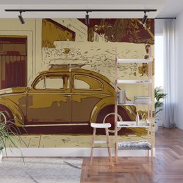 Beetle in front of wall and garage Wall Mural