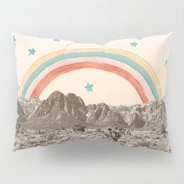 Canyon Desert Rainbow // Sierra Nevada Cactus Mountain Range Whimsical Painted Happy Stars Pillow Sham