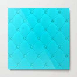 Aquamarine Blue Diamond Tufting Pattern Metal Print
