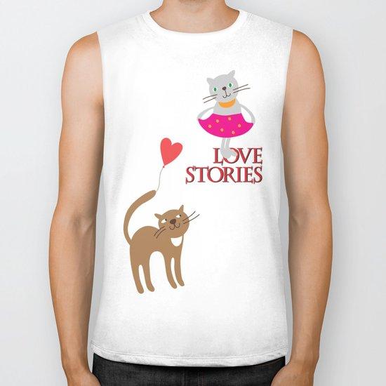 Cats - love stories Biker Tank