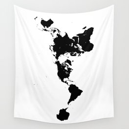 Dymaxion World Map (Fuller Projection Map) - Minimalist Black on White Wall Tapestry