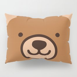 Brown Happy Bear Front Face Pillow Sham