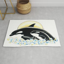 Orca Whales Family Sun Cute Ink Rug