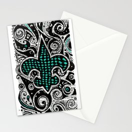 Fleur de Lis Teal Stationery Cards