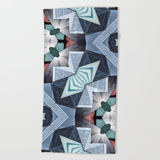Abstract Structural Collage Beach Towel