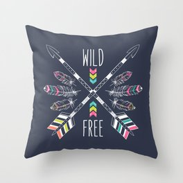 """Ethnic frame made of feathers, threads and beads with text """"Wild and Free"""". Freedom concept. Throw Pillow"""