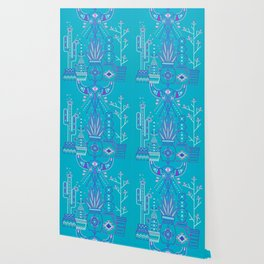 Santa Fe Garden – Blue & Purple Wallpaper