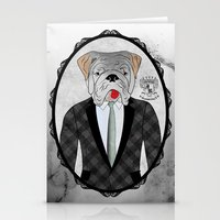 english bulldog Stationery Cards featuring Mr. Dandy - English Bulldog by Rozenblyum Couture