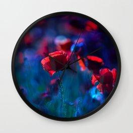 Poppy field in blue Wall Clock