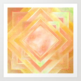Mosaic Tile // Yellow Starburst Art Print