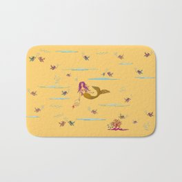 Fashionable mermaid - yellow-orange Bath Mat