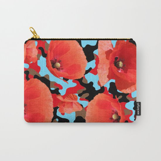 Poppie Camouflage Red Blue -Living Hell Carry-All Pouch