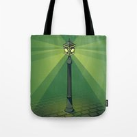 green lantern Tote Bags featuring Green Lantern by Mr. Beud
