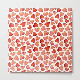 Love valentine's background with red and pink hearts. Metal Print