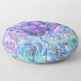 Purple and Blue Succulent Pattern Painting Floor Pillow