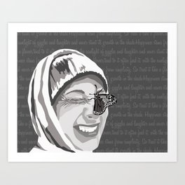 Happiness in Grayscale Art Print