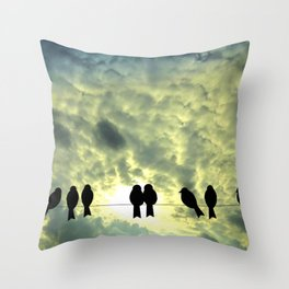 Birds Silhouette Throw Pillow