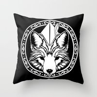 robin hood Throw Pillows featuring Foxin Hood by AdamAether
