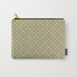 Faded Rose Little Flowers on Green Carry-All Pouch