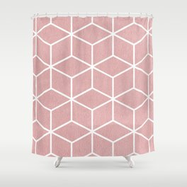Blush Pink and White - Geometric Textured Cube Design Shower Curtain