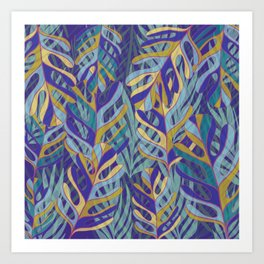 Tropical Leaves, blue and mustard pattern Art Print