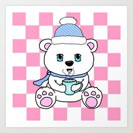 Polar Bear Drinking Hot Chocolate Art Print