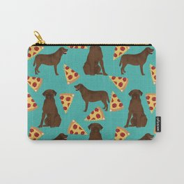 chocolate lab pizza dog breed pet portrait gifts for labrador retriever lovers Carry-All Pouch