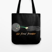 battlestar galactica Tote Bags featuring Galactica Trek Wars by sambeawesome