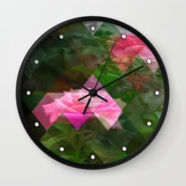Pink Roses in Anzures 5 Art Triangles 1 Wall Clock