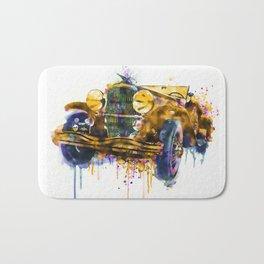 Oldtimer Automobile Watercolor Painting Bath Mat