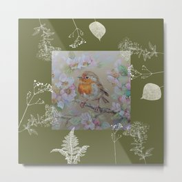 Red Robin Little Bird in the Wabi-Sabi Garden Metal Print